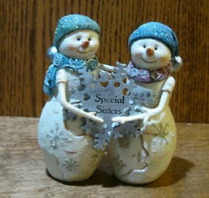"Birch Hearts Snowmen Figurine  81146 SISTERS,  by BARB McDONALD  4.5"" NEW/Box"