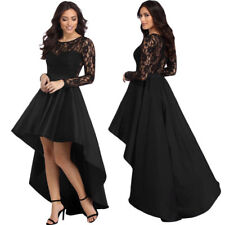 Elegant Women Prom Dress Long Sleeve Lace Evening Black Cocktail Dance Costume