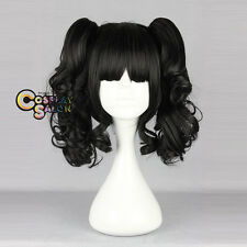 Black 14'' Short Hair Party Anime Lolita Cosplay Girls Wig + 2 Curly Ponytails