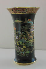 "CARLTON WARE  VASE SUPERB TEMPLE PATTERN BLACK AND GOLD 1927 - 10"" HIGH"