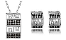 Great Wall Jewellery Set Silver and Black Rhinestones Earrings & Necklace S522