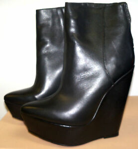 BCBG MAX AZRIA 37 M RUNWAY BLACK PUMP WEDGE BOOT LEATHER SUPER SEXY - NWOB $595
