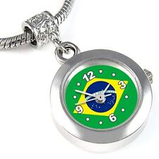 Brazil Flag Silver Quartz Watch European Spacer Charm Bead For Bracelet EBA221