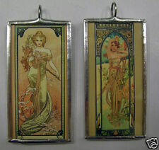 MUCHA SPRING/MORNING DOUBLE SIDED  ART GLASS PENDANT