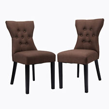 Set of 2 Dining Chair Modern Armless Tufted Design Living Room Furniture Brown