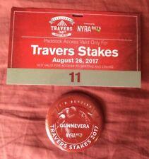 2017 Saratoga Travers Gunnevera Paddock Pass and Button