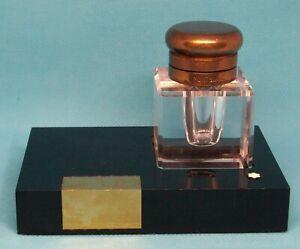 Montblanc Crystal Inkwell Stand Desk Set Vintage Germany Black/Gold *Monogrammed