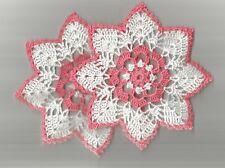 "2  Crochet Lace Doilies Doily 6""  White & Coral"