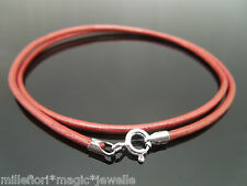 """2mm Metallic Red Leather & Sterling Silver Necklace Or Wristband 16"""" 18"""" 20"""" 22"""""""