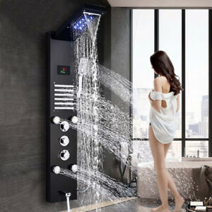 Stainless Steel ORB LED Rain Waterfall Shower Panel Tower Massage System Jets UK