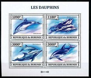 Dolphins, Fish, Marine Life, BURUNDI 2013 MNH 4v SS