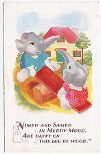 ELEPHANTS - Nimbo & Sambo - Log Of Wood Seesaw  -J Salmon -  1949 used postcard