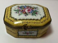 Beautiful Antique Limoges France Yellow Trinket Box A.M.R.