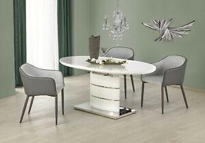 """""""ASPEN"""" White High Gloss Modern Oval Extending Dining Table 140 - 180cm"""