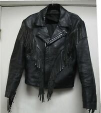Leather Jacket Girls/Womans Jacket Size 40 Used and Worn (Small) Fringes Tassle