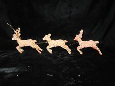 3 Vintage Orange Glittered Hard Plastic Reindeer Christmas Ornaments