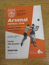 10/12/1963 Arsenal V Everton (leggera piega). questo oggetto è stato ispezionato, un qualsiasi