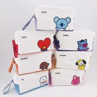 Kpop BT21 canvas PU pencil case BTS bangtan boys cosmetic bag storage bag