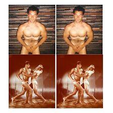 18 farbige Akt Stereofotos, kraftvolle Bodybuilding nackte Männer Gay
