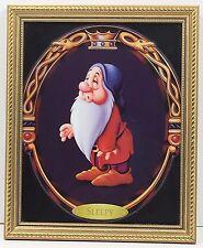 "Walt Disney Sleepy Snow White Seven Dwarfs Gold Frame Glass 11"" x 8"" Print"