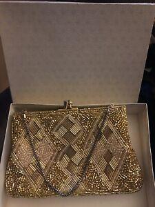 Boxed Vintage Gold Tone Beaded Decoration Clutch Handbag - Chain Diamond Pattern