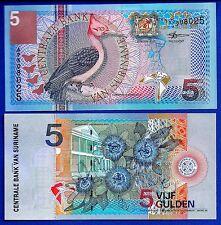 Suriname P-146 5 Gulden Year 2000 Woodpecker Uncirculated Banknote