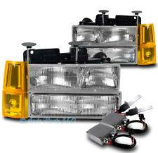 94-98 GMC C/K 1500 SUBURBAN HEADLIGHT LAMP W/BUMPER+CORNER+50W 8K HID KIT CHROME