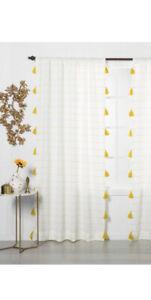 "Opalhouse Yellow Tassel Contrast Stripe Light Filtering Curtain Panel 95"" X 54"""