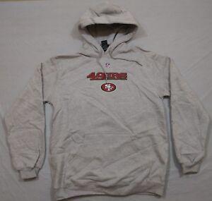 M146 New REEBOK San Francisco 49ers Niners Gray Hooded Sweatshirt Hoodie MEN'S