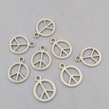 LOT de 20 PENDENTIFS perles breloque PEACE & LOVE ARGENTES 15x12mm fimo bijoux