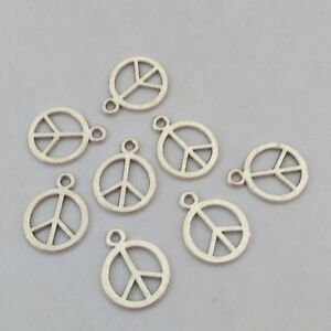 Lot Of 20 Pendants Charm Beads Peace & Love Silver 0 19/32x0 15/32in Fimo