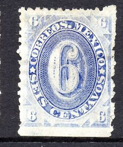 Mexico 1882 Foreign Mail Small Numeral 6¢ SVery Light Ultra/Blu No District MX22