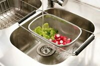 STAINLESS STEEL OVER SINK DRAINER WITH EXTENDABLE BLACK HANDLES