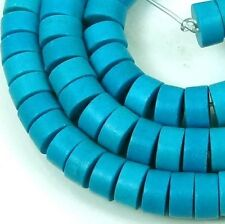 """6mm Turquoise Heishi Rondelle Beads 16""""  -  turquoise Blue"""