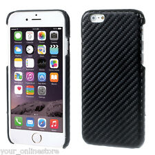 iPhone 6 iPhone 6S Black Carbon Fibre Leather Coated Hard Case