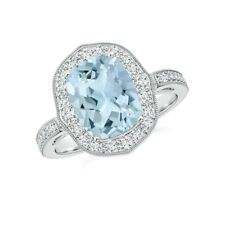 14k White Gold Natural Round Cut Diamond Aquamarine Wedding Anniversary Ring