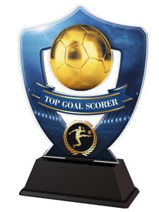 FOOTBALL TOP GOAL SCORER AWARD TROPHY ACRYLIC *FREE ENGRAVING* 100-160mm 4 sizes