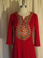 Bold Red Orange Vtg 60s Ethnic Embroidered Curvy Fit Caftan Casual Maxi Dress S