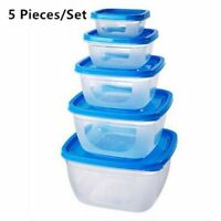 Plastic Lunch Box 5 Pcs Set Portable Food Container Storage Bowl Kitchen Seal