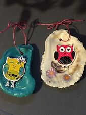Oyster Shell Christmas Ornaments - Owls