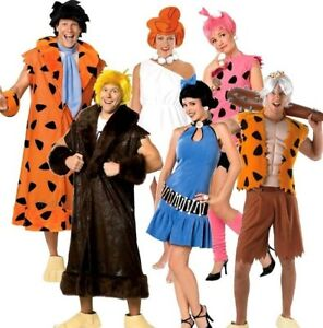 Adult FLINTSTONES Fancy Dress Fred Barney Wilma Betty Pebbles Bam Bam Book Day
