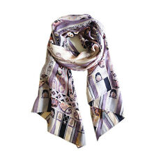 Pierre Cardin Paris paisley purple pure silk print women men long scarf  P702375