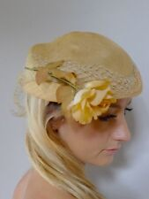 Vintage true 30s deco cream tilt straw hat rose net good RB