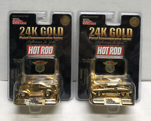 Racing Champions Hot Rod 24K Gold Plated Commemorative Series Cars Lot of 2 NEW