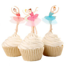 48PCS Ballet Dance Birthday Party Cupcake Decorations Paper Cake Toppers Sticks