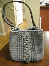 Women Handmade Crochet Gray Beaded Tote Handbag Black Leather Strap Shoulder Bag