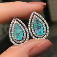 Gorgeous 925 Silver Stud Earrings Women Aquamarine Wedding Jewelry A Pair