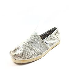 Toms Classic Sequin Canvas Slip On Flats Shoes Youth Size 1.5 M*