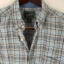 Woolrich Mens XL Plaid Casual Shirt S/S Camp Hike Button Blue