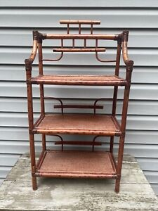 Vintage Wicker Rattan 3 Tier Shelf Bookshelf Plant Stand Boho Decor Bamboo MCM